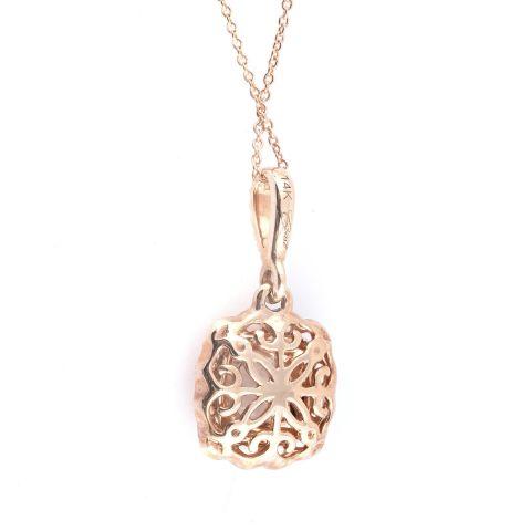 Natural Morganite 0.98 carats set in 14K Rose Gold Pendant with 0.12 carats Diamonds