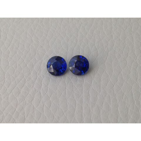 Natural Heated Blue Sapphire Pair vivid blue color round shape 1.77 carats