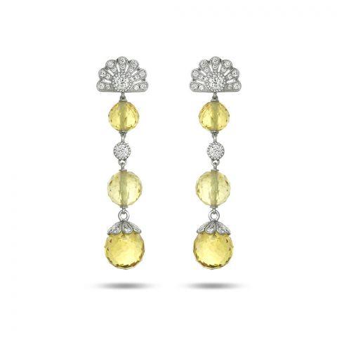 17.50cts NATURAL YELLOW BERYL DIAMONDS PLATINUM EARRINGS - can be custom order