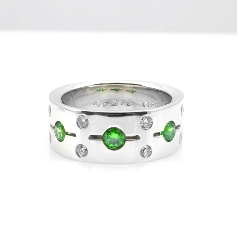Natural Russian Demantoid Garnet 0.54 carats set in 14K White Gold Ring with 0.23 carats Diamonds