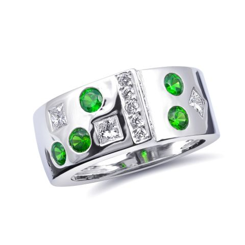 Natural Russian Demantoid Garnet 0.63 carats set in 14K White Gold Ring with 0.53 carats Diamonds