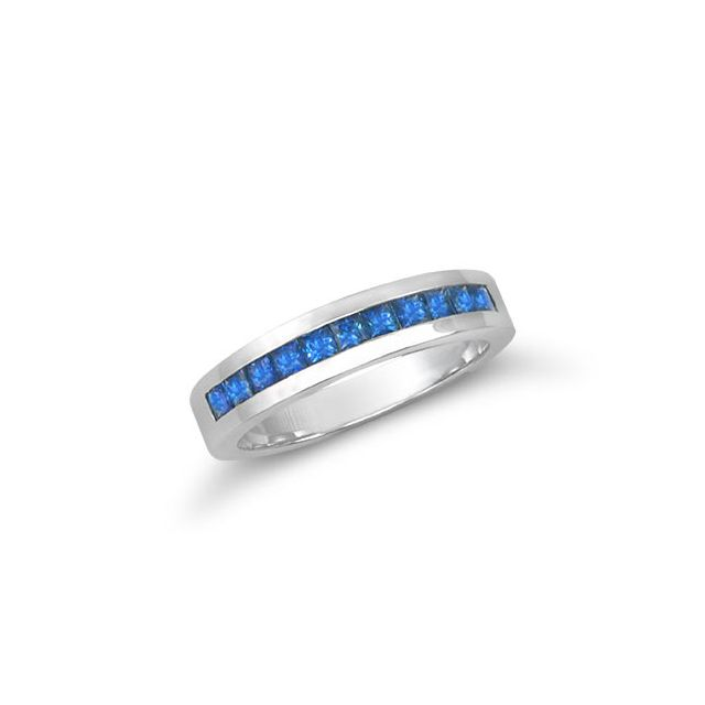 Natural Blue Sapphires 0.51 carats set in 18K White Gold Ring - sold