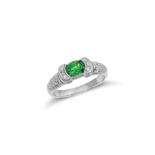Natural Tsavorite 0.72 carats set in 18K White Gold Ring with Diamonds - sold