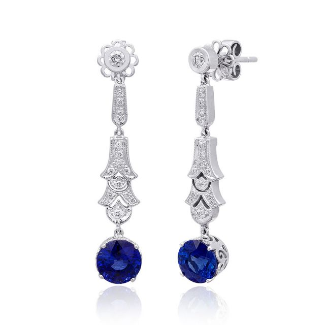 Natural Blue Sapphire 3.24 carats set in 18K White Gold Earrings with 0.32 carats Diamonds