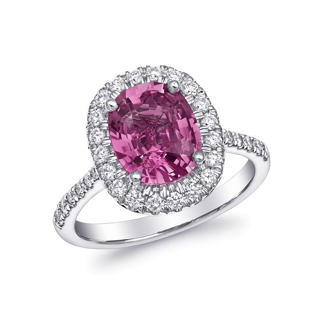 Natural  Pink Sapphire Ring 3.09 carats set in 14K White with 0.47 carats Diamonds