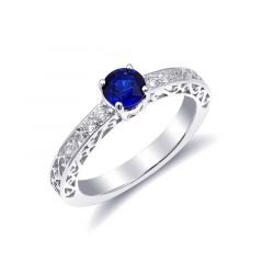 Natural Blue Sapphire 0.70 carats set in 14K White Gold Ring with 0.09 carats Diamonds