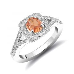 Natural Unheated Orange Sapphire 0.83 carats set in 14K White Gold Ring with 0.55 carats Diamonds / GRS Report