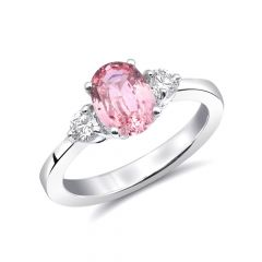 Natural Heated Padparadscha Sapphire 1.64 carats set in 14K White Gold Ring with 0.28 carats Diamonds / GRS Report