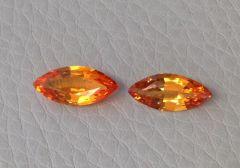 Natural Heated Orange Sapphire Pair 2.27 carats