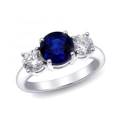 Natural Blue Sapphire 2.16 carats set in 18K White Gold Ring with 0.88 carats Diamonds