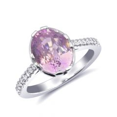 Natural Heated Padparadscha Sapphire 4.10 carats set in 14K White Gold Ring with 0.17 carats Diamonds / GRS Report