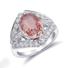 Natural Heated Padparadscha Sapphire 5.05 carats set in Platinum Art Deco Ring with 0.80 carats Diamonds / GRS Report