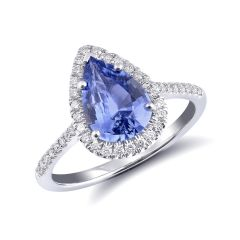 Natural Blue Sapphire 1.72 carats set in 14K White Gold Ring with 0.23 carats Diamonds