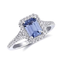 Natural Blue Sapphire 0.99 carats set in 14K White Gold Ring with 0.26 carats Diamonds