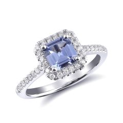 Natural Blue Sapphire 0.96 carats set in 14K White Gold Ring with 0.24 carats Diamonds