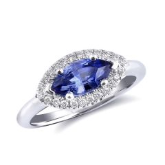 Natural Blue Sapphire 1.34 carats set in 14K White Gold Ring with 0.15 carats Diamonds