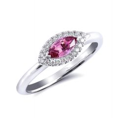 Natural Pink Sapphire 0.54 carats set in 14K White Gold Ring with 0.09 carats Diamonds