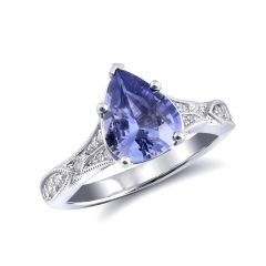 Natural Blue Sapphire 2.09 carats set in 14K White Gold Ring with 0.18 carats Diamonds