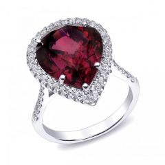 Natural Rhodolite Garnet 10.64 carats set in 14K White Gold Ring with 0.49 carats Diamonds