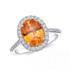 Natural Mandarin Garnet 3.65 carats set in 14K White Gold Ring with 0.31 carats Diamonds