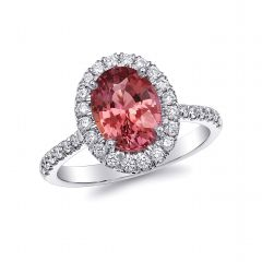 Natural Padparadscha Sapphire 2.50 carats set in Platinum Ring with 0.45 carats Diamonds / GRS Report