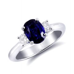 Natural Blue Sapphire 2.01 carats set in 14K White Gold Ring with 0.32 carats Diamonds