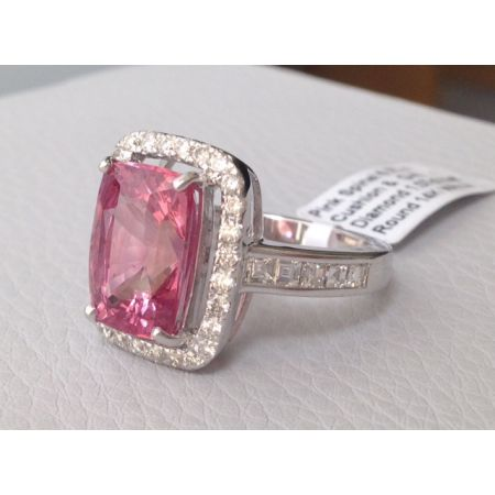 Pink Spinel Large Gem Ring 6.77cts 14K White Gold Dazzling Diamonds Engagement / Statement - sold