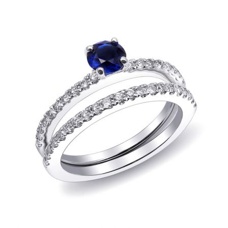 Natural Blue Sapphire 0.58 carats set in 14K White Gold Ring with 0.40 carats Diamonds