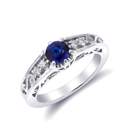 Natural Blue Sapphire 0.78 carats set in 14K White Gold Ring with 0.11 carats Diamonds