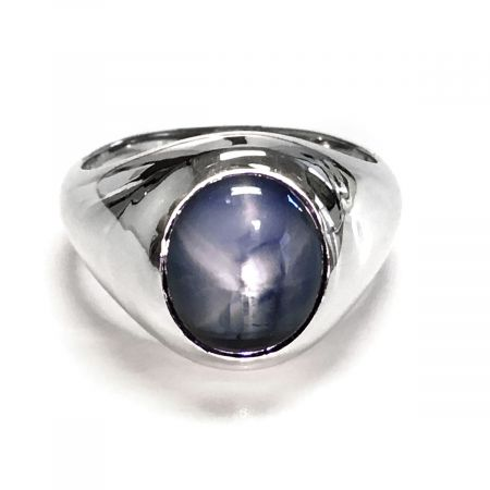 Natural Burma Blue Star Sapphire 11.37 carats set in 14K White Gold Men's Ring