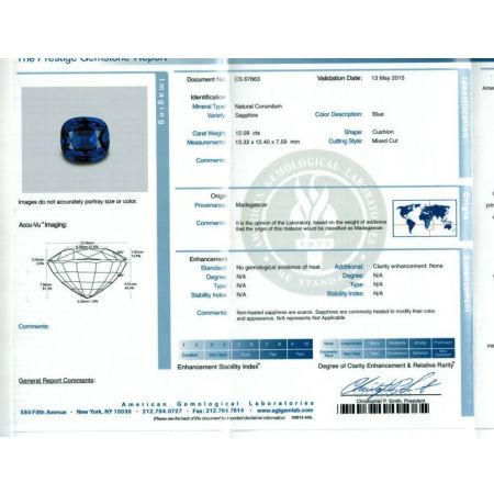Natural Unheated Blue Sapphire deep blue color cushion shape 12.09 carats with AGL Report / video