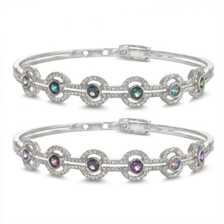 Natural Alexandrite gemstones 1.50 carats set in 14K White Gold Bracelet with Diamonds / video
