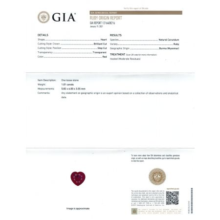 Natural Burma Ruby 1.01 carats Pigeon Blood color set in 18K White Gold Pendant with 0.23 carats Diamonds / GIA Report