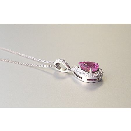 Natural Pink Sapphire 1.21 carats set in 18K White Gold Pendant with 0.14 carats Diamonds