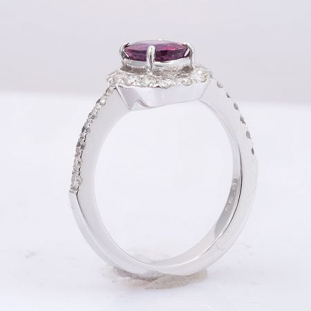 Natural Unheated Ruby 1.37 carats set in 14K White Gold with 0.61 carats Diamonds