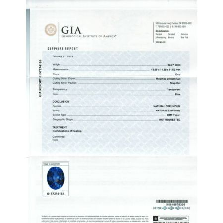 20.07cts GIA CERTIFIED UNHEATED BLUE SAPPHIRE