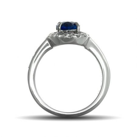Blue Sapphire Ring 2.01cts Natural Gemstone 14K White Gold Engagement / Cocktail