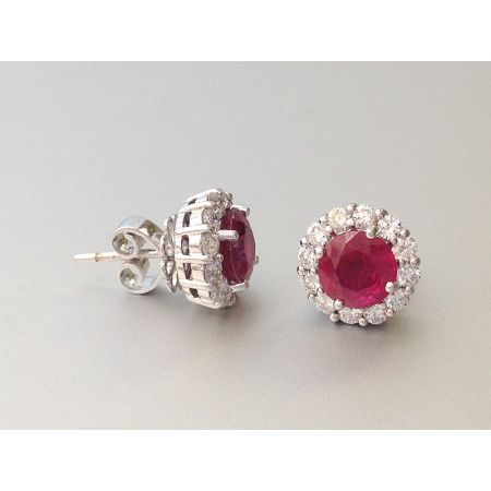 Natural Ruby 2.03 carats set in 18K White Gold Earrings with  0.70 carats Diamonds