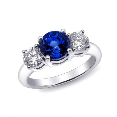 Natural Blue Sapphire 2.27 carats set in 18K White Gold Ring with 0.92 carats Diamonds