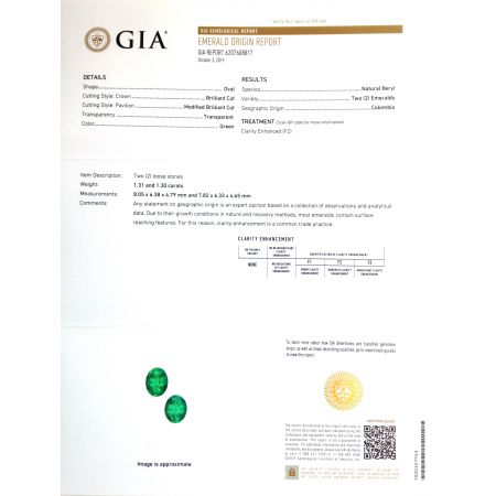 Natural Colombian Emeralds matching pair oval shape 2.61 carats with GIA Report
