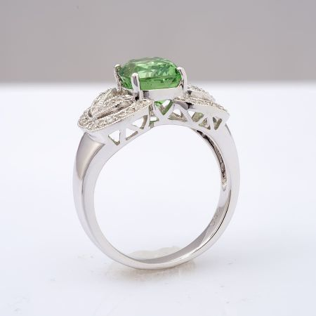 Natural Grossular Garnet 3.37 carats set in 18K White Gold Ring with 0.27 carats Diamonds