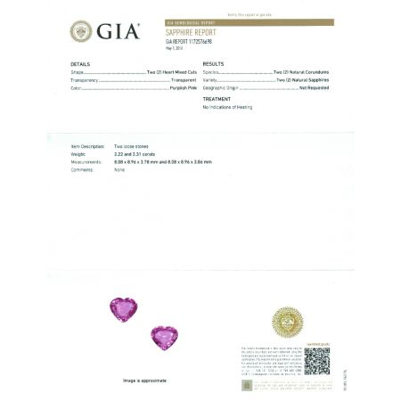 Natural Pair Unheated Pink Sapphire purplish pink color heart shape 4.53 carats with GIA Report