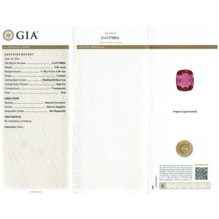Natural Unheated Pink Sapphire pink color cusnion shape 5.04 carats with GIA Report