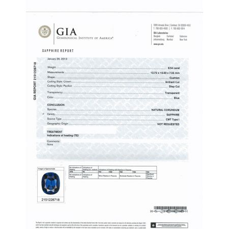 Natural Blue Sapphire 8.54 carats set in Platinum Ring with 0.51 carats Diamonds / GIA Report