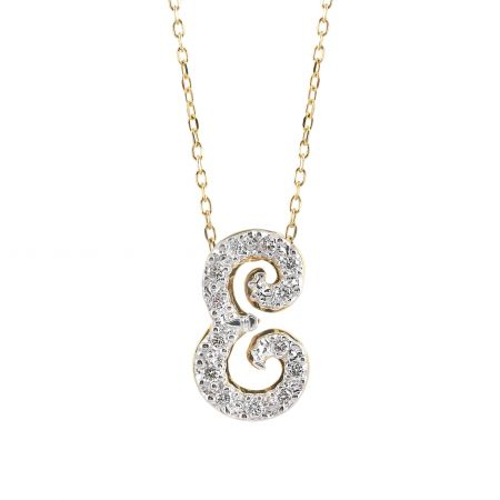 """Initial """"E"""" Pendant with Diamonds 0.14 carats, 14K White and Yellow Gold, 18"""" Chain"""