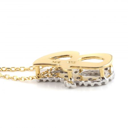 """Initial """"J"""" Pendant with Diamonds 0.15 carats, 14K White and Yellow Gold, 18"""" Chain"""