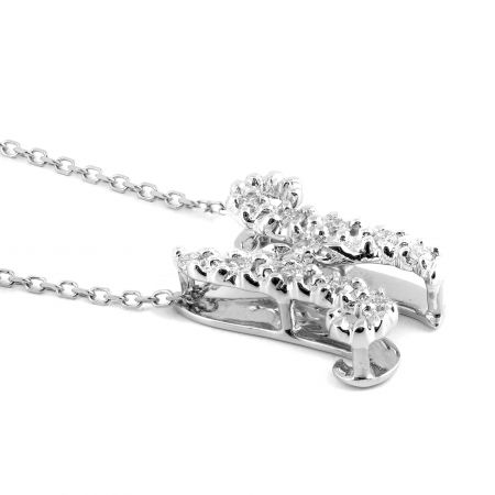 """Initial """"N"""" Pendant with Diamonds 0.13 carats, 14K White Gold, 18"""" Chain"""