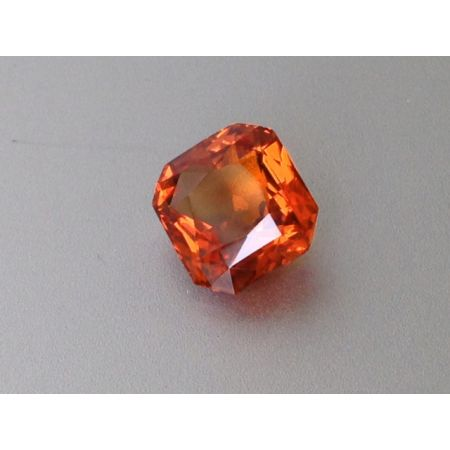 Natural Unheated Orange Sapphire reddish orange color octagon shape 3.23 carats with GIA Report / video