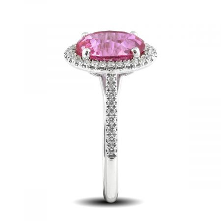 Natural Pink Sapphire 4.00 carats set in 14K White Gold Ring with 0.29 carats Diamonds