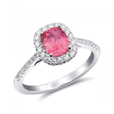 Natural Pink Spinel 0.86 carats set in 14K White Gold Ring with 0.29 carats Diamonds